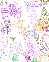 Size: 1280x1611 | Tagged: safe, artist:adorkabletwilightandfriends, moondancer, spike, starlight glimmer, twilight sparkle, oc, oc:pinenut, alicorn, cat, dragon, pony, unicorn, comic:adorkable twilight and friends, adorkable, adorkable twilight, book, bowtie, butt, candle, candy, candy cane, card, christmas, christmas card, christmas gift, christmas lights, christmas tree, christmas wear, clothes, comic, cute, dork, evergreen tree, family, female, flying, food, friendship, glowing horn, greg's bowtie, hearth's warming, hearth's warming eve, holiday, holly, holly mistaken for mistletoe, horn, humor, kissing, letter, lineart, love, lying down, magic, male, mare, mistletoe, ornament, ornaments, plot, present, scarf, sitting, spikelove, sweater, telekinesis, tree, twilight sparkle (alicorn)