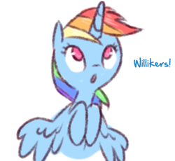 Size: 376x346 | Tagged: alicorn, alicornified, artist:raridashdoodles, edit, female, mare, race swap, rainbowcorn, rainbow dash, safe, simple background, solo, white background