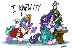 Size: 6044x3992 | Tagged: safe, artist:bobthedalek, firelight, princess platinum, starlight glimmer, pony, unicorn, bathrobe, bed mane, caught, christmas, christmas tree, clothes, cookie, father and daughter, female, food, hearth's warming eve, holiday, implied princess platinum, kite, male, milk and cookies, pajamas, pure unfiltered evil, robe, sweat, sweatdrop, that pony sure does love kites, tree, whoops