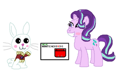 Size: 508x322 | Tagged: 3ds, angel bunny, artist:drypony198, blushing, box, clothes, female, interspecies, kite, male, safe, shipping, starbunny, starlight glimmer, straight, sweater