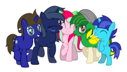 Size: 2699x1518 | Tagged: safe, artist:kiwipone, oc, oc:daylight dream, oc:kiwi aura, oc:lucidia gem, oc:max seller, oc:midnight music, 2019 community collab, derpibooru community collaboration, colt, cute, female, group photo, happy, male, simple background, transparent background, updated