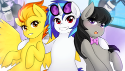 Size: 1280x720 | Tagged: safe, artist:jonfawkes, dj pon-3, octavia melody, spitfire, vinyl scratch, earth pony, pegasus, pony, unicorn, blushing, bowtie, fanfic, fanfic art, female, grin, hooves, horn, hug, looking at you, mare, microphone, open mouth, smiling, spread wings, sunglasses, teeth, the vinyl scratch tapes, trio, waifu, waifus, wings
