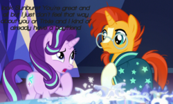 Size: 720x432 | Tagged: safe, edit, edited screencap, screencap, starlight glimmer, sunburst, clothes, cutie map, duo, female, glasses, male, mare, mouthpiece, not shipping, open mouth, stallion, text, text edit