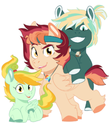 Size: 891x1001 | Tagged: safe, artist:dbkit, dumbbell, rainbow dash, oc, oc:cherry bomber, oc:hightide, oc:kite runner, earth pony, pegasus, pony, 2019 community collab, derpibooru community collaboration, colt, female, filly, headband, jewelry, looking at you, male, necklace, new, next generation, offspring, one eye closed, parent:dumbbell, parent:rainbow dash, parents:dumbdash, siblings, simple background, transparent background, wink