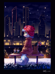 Size: 1800x2425 | Tagged: safe, artist:luciferamon, coco pommel, earth pony, pony, bench, candy, candy cane, city, cityscape, female, food, mare, night, scenery, skyscraper, snow, solo, winter