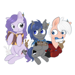 Size: 5000x5000 | Tagged: safe, artist:afuna, oc, oc:afuna, oc:lative, oc:midnight feathers, bat, bat pony, earth pony, parrot, pony, rabbit, 2019 community collab, derpibooru community collaboration, absurd resolution, armor, book, clothes, console, cutie mark, feather, female, freckles, keycard, lying, male, omnicard, scarf, scp, screen, simple background, sitting, thaumonomicon, transparent background, wrench