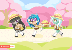 Size: 1420x1000 | Tagged: alternate version, artist:howxu, dj pon-3, equestria girls, female, lyra heartstrings, octavia melody, pony coloring, safe, vinyl scratch