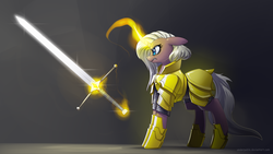 Size: 3840x2160 | Tagged: angry, armor, artist:underpable, female, floppy ears, frown, glare, gradient background, gray background, gritted teeth, levitation, magic, mare, nose wrinkle, oc, pony, safe, shiny, simple background, solo, sword, telekinesis, unicorn, weapon