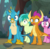 Size: 428x418 | Tagged: safe, screencap, berry blend, berry bliss, gallus, sandbar, smolder, dragon, earth pony, griffon, pony, the end in friend, cropped, dragoness, female, friendship student, male, open mouth, shocked