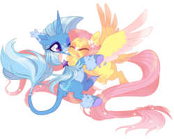 Size: 2500x2000 | Tagged: artist:nemovonsilver, classical unicorn, cloven hooves, colored wings, colored wingtips, dappled, ear tufts, eyes closed, female, flower, flower in hair, fluttershy, flying, freckles, glomp, grin, happy, hug, leonine tail, lesbian, lidded eyes, mare, one eye closed, pegasus, pony, ponytail, safe, shipping, simple background, smiling, socks (coat marking), spread wings, tail feathers, tail fluff, transparent background, trixie, trixieshy, unicorn, unshorn fetlocks, wings, wink