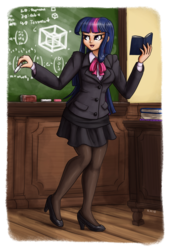 Size: 1280x1881 | Tagged: artist:king-kakapo, book, chalkboard, clothes, female, high heels, human, humanized, legwear, pantyhose, safe, shoes, smiling, solo, stockings, teacher, tesseract, thigh highs, twilight sparkle
