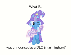 Size: 620x478 | Tagged: artist:mega-poneo, cape, card, clothes, hat, magic, meme, one eye closed, safe, simple background, solo, super smash bros. ultimate, telekinesis, trixie, trixie's cape, trixie's hat, wink