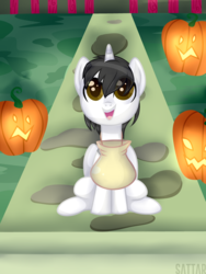Size: 3000x4000 | Tagged: alicorn, alicorn oc, artist:danseych, colt, halloween, holiday, horn, male, oc, oc:shiron, pumpkin, safe, wings, younger