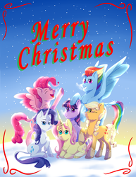Size: 3700x4800 | Tagged: applejack, applejack (g5), artist:kiarawizard01, earth pony, earth pony twilight, female, fluttershy, fluttershy (g5), g5, mane six, mane six opening poses, mare, merry christmas, pegasus, pegasus pinkie pie, pinkie pie, pinkie pie (g5), pony, race swap, rainbow dash, rainbow dash (g5), rarity, rarity (g5), safe, smiling, snow, spoiler:g5, twilight sparkle, twilight sparkle (g5), unicorn, unicorn fluttershy