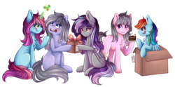 Size: 3000x1487 | Tagged: safe, artist:sketchyhowl, rainbow dash, oc, oc:rainbow kitty, oc:silver breeze, oc:sketchy howl, earth pony, pegasus, pony, unicorn, box, female, holly, holly mistaken for mistletoe, mare, pony in a box, present, simple background, transparent background