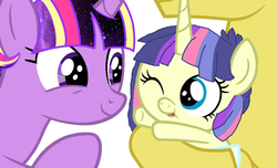 Size: 1140x692 | Tagged: safe, artist:3d4d, comet tail, twilight sparkle, oc, oc:starlight nebula, pony, baby, baby pony, base used, cometlight, family, female, male, offspring, parent:comet tail, parent:twilight sparkle, parents:cometlight, rainbow ponies, shipping, straight