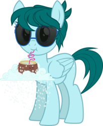 Size: 1200x1461 | Tagged: 2019 community collab, artist:yoshimon1, cloud, coconut, derpibooru community collaboration, derpibooru exclusive, description is relevant, drinking, drinking straw, female, food, mare, oc, oc:cloudy bits, oc only, pegasus, pony, safe, simple background, snow, snowfall, solo, story included, sunglasses, transparent background