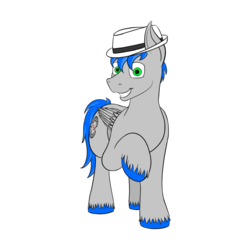 Size: 1200x1200 | Tagged: 2019 community collab, artist:recordmelodie, derpibooru community collaboration, fedora, grin, hat, looking at you, male, oc, oc only, oc:record melodie, pegasus, pony, safe, simple background, smiling, solo, stallion, standing, transparent background, wings