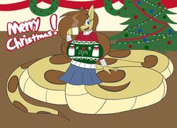 Size: 4184x3036 | Tagged: anthro, artist:metalaura, big breasts, breasts, christmas, christmas lights, christmas sweater, christmas tree, clothes, female, festive, holiday, huge breasts, impossibly large breasts, lamia, mare, monster girl, monster mare, oc, oc:hissyfit, oc only, original species, pleated skirt, safe, skirt, snake pony, solo, sweater, tree