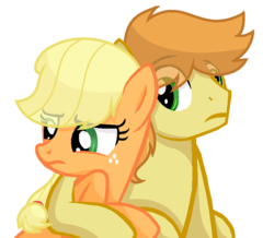 Size: 832x726 | Tagged: applecest, applejack, artist:sapphireartemis, braeburn, braejack, female, hug, incest, male, missing accessory, pony, safe, shipping, simple background, story included, straight, transparent background
