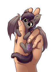 Size: 900x1170 | Tagged: :3, artist:28gooddays, bat pony, bat pony oc, behaving like a bat, biting, cute, cute little fangs, cutie mark, daaaaaaaaaaaw, ear fluff, fangs, featured image, female, hand, hnnng, holding a pony, hug, human, in goliath's palm, mare, micro, nom, oc, ocbetes, oc only, oc:umbra tempestas, pony, safe, simple background, smiling, smol, solo focus, spread wings, tiny, tiny ponies, underhoof, weapons-grade cute, white background, wings, ych result