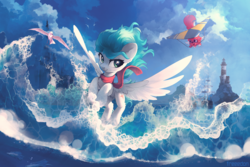 Size: 3000x2000 | Tagged: artist:freeedon, clothes, cloud, digital art, duo, female, flying, high res, mare, non-pony oc, oc, oc:cynosura, ocean, oc:katie, oc only, pegasus, pony, safe, scarf, seagull, signature, sky, smiling, smirk, spread wings, surfing, water, wings