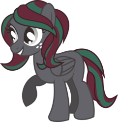Size: 3706x3856 | Tagged: safe, artist:alphatea, oc, oc:suzzy pome, pegasus, pony, 2019 community collab, derpibooru community collaboration, female, folded wings, mare, raised hoof, simple background, smiling, solo, standing, transparent background