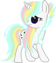 Size: 7013x7845 | Tagged: safe, artist:alphatea, oc, oc only, oc:dimy, pony, unicorn, 2019 community collab, derpibooru community collaboration, absurd resolution, braid, female, mare, rainbow hair, raised hoof, shy, simple background, solo, standing, transparent background