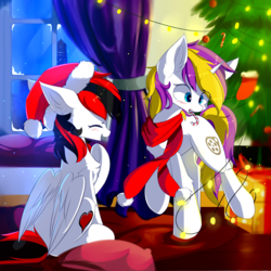 Size: 1800x1800 | Tagged: artist:heddopen, candy, candy cane, chest fluff, christmas, christmas tree, clothes, duo, female, food, hat, holiday, mare, oc, oc:glittery, oc only, oc:sprinkles, pegasus, pony, present, safe, santa hat, scarf, smiling, snow, tree, unicorn, winter