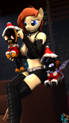 Size: 1837x3265 | Tagged: safe, artist:kasjer19, oc, oc only, oc:avast, oc:intel, oc:zizka, dragon, anthro, 3d, absolute cleavage, breasts, christmas, cleavage, clothes, costume, hat, holiday, santa costume, santa hat, shorts, source filmmaker