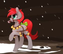 Size: 2324x2000 | Tagged: artist:arctic-fox, artist:up1ter, bell, bell collar, bridle, candy, candy cane, collar, female, food, harness, mare, oc, oc:up1ter, safe, snow, solo