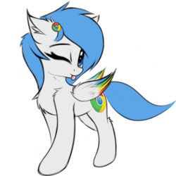 Size: 1200x1200 | Tagged: 2019 community collab, artist:twiren, blep, browser ponies, derpibooru community collaboration, female, floppy ears, google chrome, mare, oc, oc:google chrome, oc only, pegasus, pony, safe, silly, simple background, solo, tongue out, transparent background