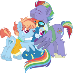 Size: 1280x1276 | Tagged: alternate design, artist:bezziie, bow hothoof, clothes, group hug, hug, pony, rainbow dash, rainbow dash's parents, safe, simple background, transparent background, uniform, windy whistles, wonderbolts uniform