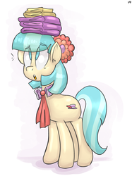 Size: 1280x1710 | Tagged: artist:benja, balancing, coco pommel, eye clipping through hair, no pupils, open mouth, pony, safe, signature, solo