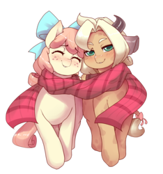 Size: 1310x1400 | Tagged: safe, artist:spindlesx, oc, oc only, oc:brandi, oc:sundae scoop, cow, earth pony, pony, 2019 community collab, derpibooru community collaboration, blushing, bow, clothes, cow ears, cute, female, group, happy, hips, horn, horns, looking at you, nuzzles, scarf, shared clothing, shared scarf, sharing, simple background, smiling, tail, transparent background