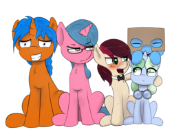 Size: 1517x1163 | Tagged: 2019 community collab, artist:plinko, bowtie, box, derpibooru community collaboration, derpibooru exclusive, earth pony, female, filly, glasses, goggles, group photo, male, mare, oc, oc:appleale, oc:box-filly, oc:eissen, oc:optica, oc:sweetwater, pegasus, pony, pose, safe, simple background, sitting, stallion, transparent background, unicorn