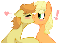 Size: 1204x868 | Tagged: applecest, applejack, artist:sapphireartemis, blushing, braeburn, braejack, female, floppy ears, incest, kissing, male, pony, safe, shipping, simple background, story included, straight, transparent background, white outline