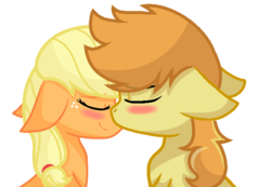 Size: 686x476 | Tagged: applecest, applejack, artist:sapphireartemis, braeburn, braejack, female, floppy ears, incest, male, nuzzling, pony, safe, shipping, simple background, story included, straight, transparent background, white outline