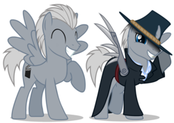 Size: 1062x750 | Tagged: artificial wings, artist:somepony, augmented, clothes, hat, male, mechanical wing, oc, oc:silver lining, pegasus, pony, safe, simple background, solo, stallion, transparent background, vector, wings