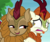 Size: 472x400 | Tagged: safe, edit, edited screencap, editor:ah96, screencap, autumn blaze, fern flare, kirin, sounds of silence, cropped, dilated pupils, disgusted, do not want, empty eyes, female, frown, open mouth, raised hoof, smiling, smirk, smug, tongue out, wide eyes