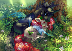 Size: 2894x2067 | Tagged: safe, artist:holivi, oc, oc only, changeling, pegasus, pony, changeling oc, commission, cuddling, fangs, female, flower, grass, male, mare, oc x oc, shipping, sleeping, straight, tree