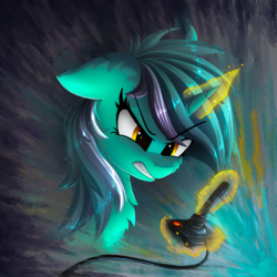 Size: 2000x2000 | Tagged: safe, artist:atlas-66, lyra heartstrings, pony, unicorn, atari, atari 2600, controller, female, floppy ears, gamer lyra, glowing horn, joystick, magic, mare, serious, serious face, solo