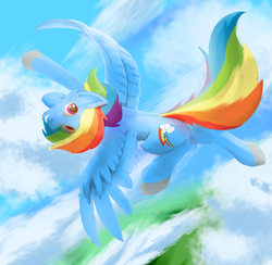 Size: 2620x2554   Tagged: safe, artist:spntax, rainbow dash, pegasus, pony, cloud, colored hooves, female, flying, looking at you, mare, my little pony, sky, smiling, solo, spread wings, wings