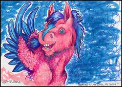 Size: 600x426 | Tagged: safe, artist:tarpanbeadworks, firefly, pegasus, pony, g1, blaze (coat marking), bust, colored wings, colored wingtips, deviantart watermark, male, obtrusive watermark, rule 63, solo, stallion, traditional art, watermark