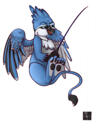 Size: 1500x2000 | Tagged: artist:xchan, blue jay, bluejay griffon, derpibooru exclusive, fishing, fishing rod, floppy disk, flying, griffon, griffon oc, oc, oc:lafiri, oc only, open mouth, paws, safe, simple background, solo, transparent background, underpaw