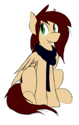 Size: 1256x1976 | Tagged: 2019 community collab, artist:candel, clothes, derpibooru community collaboration, freckles, looking at you, male, oc, oc:candlelight, oc only, pegasus, pony, safe, scarf, simple background, sitting, solo, transparent background