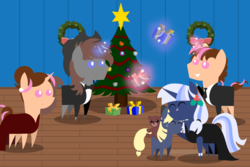 Size: 6000x4000 | Tagged: absurd res, artist:steampunk-brony, christmas, christmas tree, cute, female, holiday, hug, magic, male, mare, mother and daughter, oc, oc:ellison, oc only, oc:pink rose, oc:silverlay, oc:steamy, oc:think pink, parents:silverjack, pointy ponies, pony, rule 63, safe, stallion, teddy bear, tree, unicorn