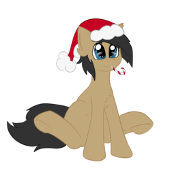 Size: 1033x1036 | Tagged: 2019 community collab, artist:deusexkittycoon, candy, candy cane, christmas, derpibooru community collaboration, earth pony, food, hat, holiday, oc, oc:cogs fixmore, oc only, pony, safe, santa hat, simple background, solo, transparent background