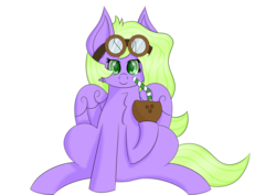 Size: 1280x906 | Tagged: 2019 community collab, artist:syncedsart, bendy straw, chest fluff, clip studio paint, coconut, cute, derpibooru community collaboration, digital art, drinking, female, food, fullbody, goggles, mare, oc, oc:lydria, pegasus, pony, safe, simple background, sitting, solo, straw, transparent background