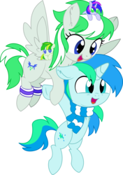 Size: 6035x8579 | Tagged: 2019 community collab, absurd res, artist:aureai, artist:cyanlightning, brother and sister, chest fluff, clothes, colt, derpibooru community collaboration, duo, ear fluff, female, filly, flying, leg warmers, male, oc, oc:blue sky lightning, oc:cyan lightning, oc:emerald lightning, oc:green lightning, oc only, open mouth, pegasus, plushie, pony, safe, scarf, siblings, simple background, spread wings, .svg available, transparent background, unicorn, vector, wings